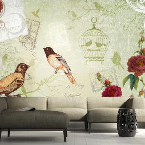 Papier Peint Panoramique Vintage birds