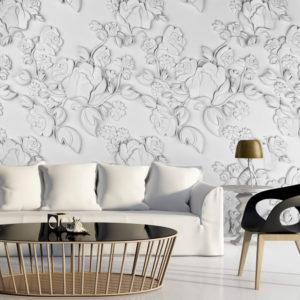 Papier Peint Panoramique White ornament: roses
