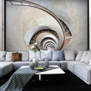 Papier Peint Panoramique White spiral stairs