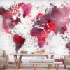 Papier Peint Panoramique World Map: Red Watercolors