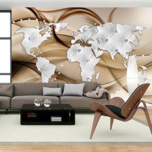 Papier Peint Panoramique World Map - White & Diamonds