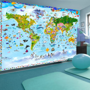 Papier Peint Panoramique World Map for Kids