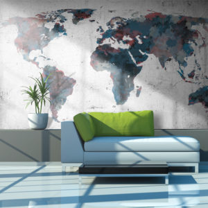 Papier Peint Panoramique World map on the wall