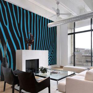 Papier Peint Panoramique Zebra pattern (turquoise)
