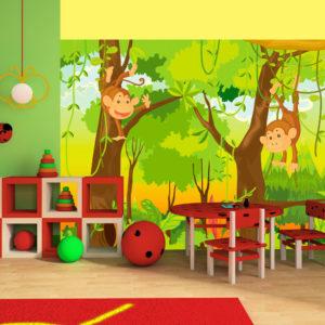 Papier Peint Panoramique jungle - singes