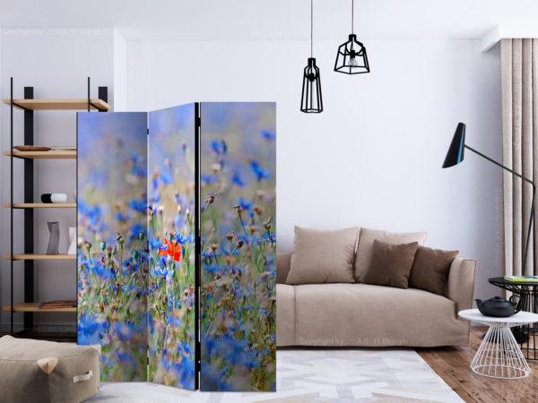 Paravent 3 volets - A sky-colored meadow - cornflowers séparateur de piece