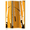 Paravent 3 volets - Birches on the orange background
