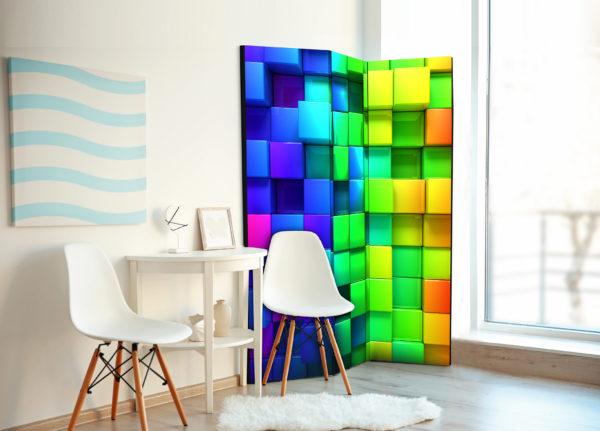 Paravent 3 volets - Colourful Cubes séparateur de piece