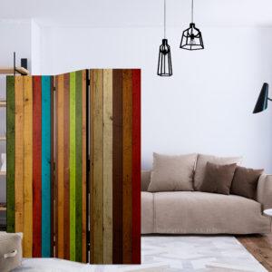 Paravent 3 volets - Wooden rainbow séparateur de piece
