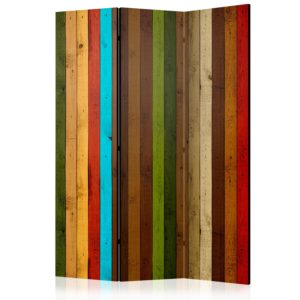 Paravent 3 volets - Wooden rainbow