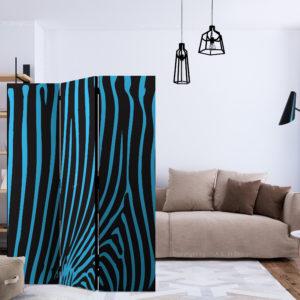 Paravent 3 volets - Zebra pattern (turquoise) séparateur de piece