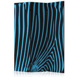 Paravent 3 volets - Zebra pattern (turquoise)