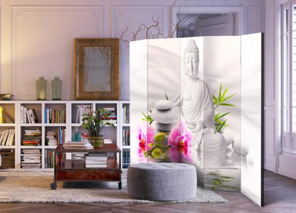 Paravent 5 volets - Buddha and Orchids II séparateur de piece