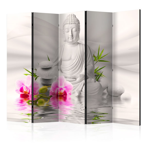 Paravent 5 volets - Buddha and Orchids II