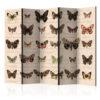 Paravent 5 volets - Retro Style: Butterflies II