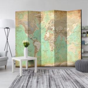Paravent 5 volets - Turquoise World Map séparateur de piece