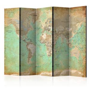 Paravent 5 volets - Turquoise World Map