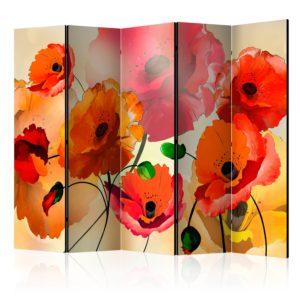 Paravent 5 volets - Velvet Poppies II