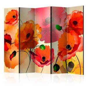 Paravent 5 volets - Velvet poppies