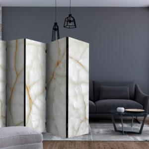 Paravent 5 volets - White Marble séparateur de piece