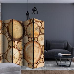 Paravent 5 volets - Wood grains séparateur de piece