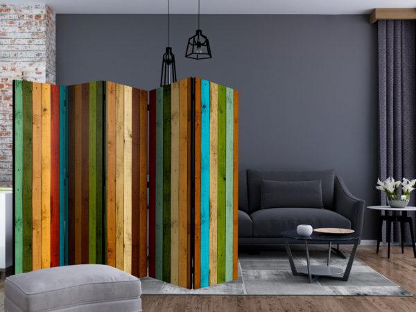 Paravent 5 volets - Wooden rainbow séparateur de piece