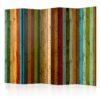 Paravent 5 volets - Wooden rainbow