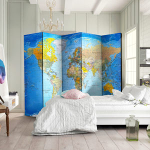 Paravent 5 volets - World Classic Map séparateur de piece