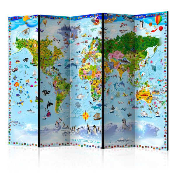 Paravent 5 volets - World Map for Kids II