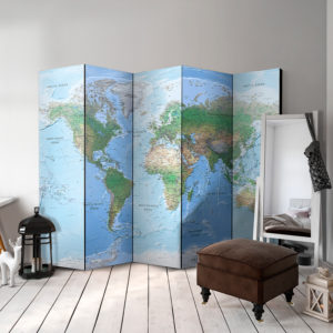 Paravent 5 volets - World Map séparateur de piece