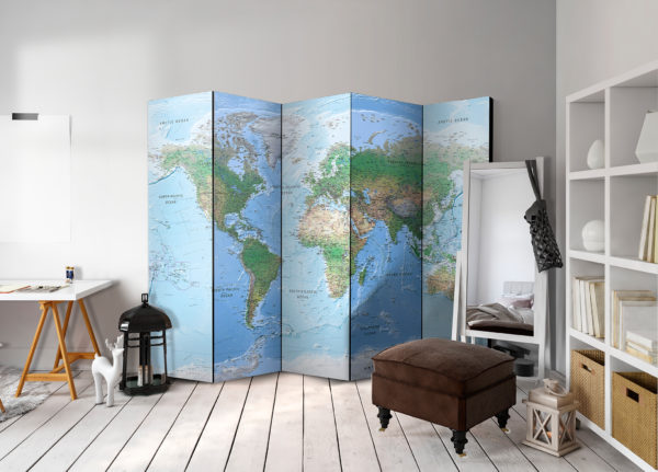Paravent 5 volets - World Map séparateur de piece