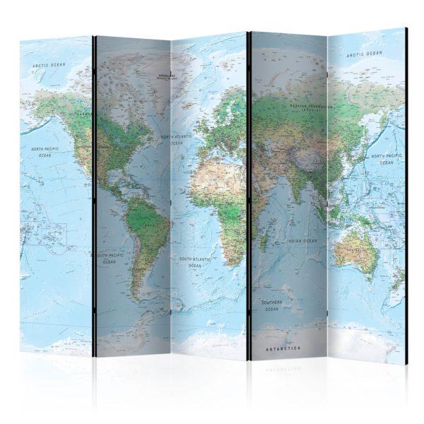 Paravent 5 volets - World Map