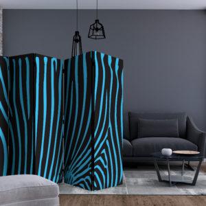 Paravent 5 volets - Zebra pattern (turquoise) séparateur de piece