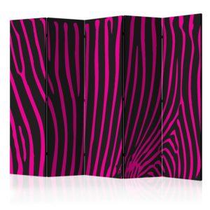 Paravent 5 volets - Zebra pattern (violet)