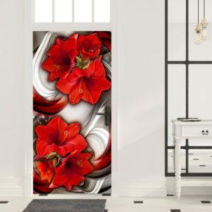Papier-peint pour porte - Photo wallpaper - Abstraction and red flowers I papier peint intissé originale pour les portes ( collection magnifique )