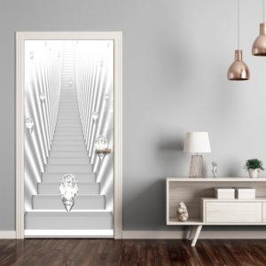 Papier-peint pour porte - Photo wallpaper - White stairs and jewels I papier peint intissé originale pour les portes ( collection magnifique )