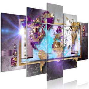 Tableau - Abstract Map (5 Parts) Wide fait partie des tableaux murales de la collection de worldofwomen découvrez ce magnifique tableau exclusif chez nous