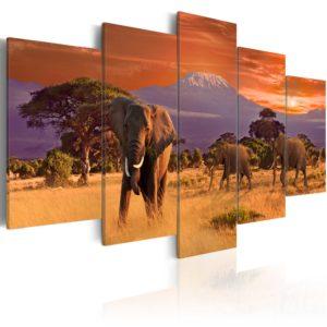 Tableau - Afrique: éléphants fait partie des tableaux murales de la collection de worldofwomen découvrez ce magnifique tableau exclusif chez nous
