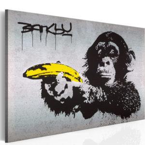 Tableau - Arrête ou le singe va tirer! (Banksy) fait partie des tableaux murales de la collection de worldofwomen découvrez ce magnifique tableau exclusif chez nous