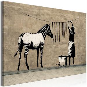 Tableau - Banksy: Washing Zebra on Concrete (1 Part) Wide fait partie des tableaux murales de la collection de worldofwomen découvrez ce magnifique tableau exclusif chez nous