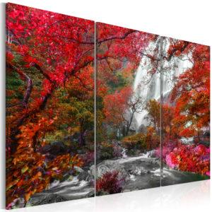 Tableau - Beautiful Waterfall: Autumnal Forest fait partie des tableaux murales de la collection de worldofwomen découvrez ce magnifique tableau exclusif chez nous