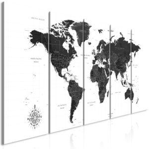 Tableau - Black and White Map (5 Parts) Narrow fait partie des tableaux murales de la collection de worldofwomen découvrez ce magnifique tableau exclusif chez nous