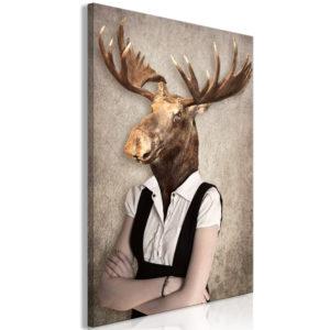 Tableau - Brainy Moose (1 Part) Vertical fait partie des tableaux murales de la collection de worldofwomen découvrez ce magnifique tableau exclusif chez nous