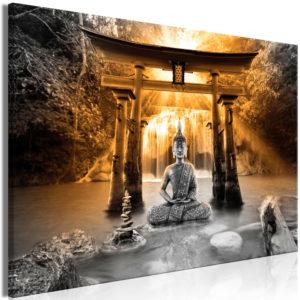 Tableau - Buddha Smile (1 Part) Wide Orange fait partie des tableaux murales de la collection de worldofwomen découvrez ce magnifique tableau exclusif chez nous