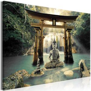 Tableau - Buddha Smile (1 Part) Wide fait partie des tableaux murales de la collection de worldofwomen découvrez ce magnifique tableau exclusif chez nous