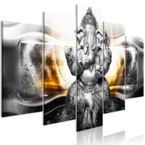 Tableau - Buddha Style (5 Parts) Silver Wide fait partie des tableaux murales de la collection de worldofwomen découvrez ce magnifique tableau exclusif chez nous