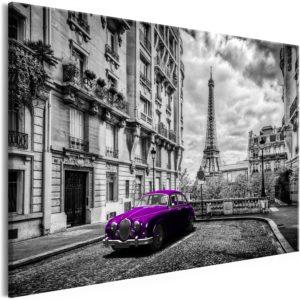 Tableau - Car in Paris (1 Part) Violet Wide fait partie des tableaux murales de la collection de worldofwomen découvrez ce magnifique tableau exclusif chez nous