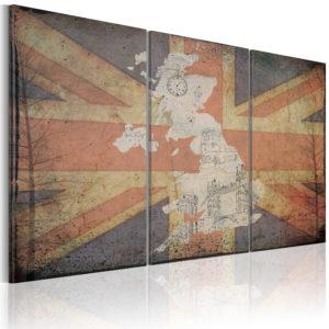 Tableau - Carte de la Grande-Bretagne - triptyque fait partie des tableaux murales de la collection de worldofwomen découvrez ce magnifique tableau exclusif chez nous