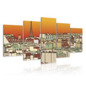 Tableau - Ciel parisien en couleur de l'orange fait partie des tableaux murales de la collection de worldofwomen découvrez ce magnifique tableau exclusif chez nous