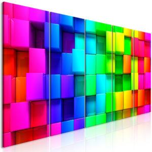Tableau - Colourful Cubes (5 Parts) Narrow fait partie des tableaux murales de la collection de worldofwomen découvrez ce magnifique tableau exclusif chez nous